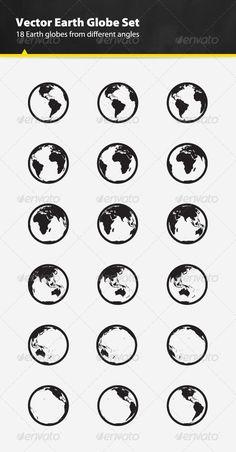 Vector Earth Globe Set - Objects Vectors