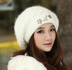 Beaded flower beret hat for girls rabbit fur winter