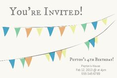 #custom #invitation #party #birthday #flags #bunting #bottle #your #brand from www.BottleYourBrand.com Birthday Flags, 4th Birthday, Youre Invited, Custom Invitations, Bunting, Bottle, Party, Garlands, Fiesta Party