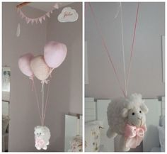 Móbile Ovelha suspensa por balões rosa