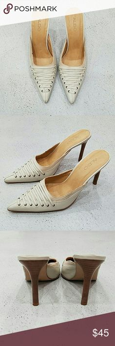 Cream Leather Aldo Mules Gently used pointed toe mules. Leather Made in Brazil Great condition. Aldo Shoes Mules & Clogs