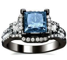 2.04ct Blue Princess Cut Diamond Engagement Ring 18k Black Gold / Front Jewelers