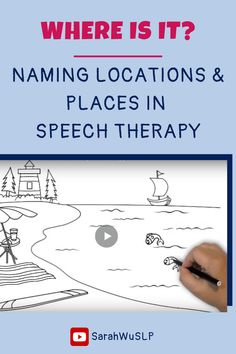 Naming Locations and Places in Speech Therapy - An illustrated video: Using short films and videos is a great way to get engagement in speech therapy and great for use in teletherapy. Here's how I use this video to teach describing. - Speech is Beautiful