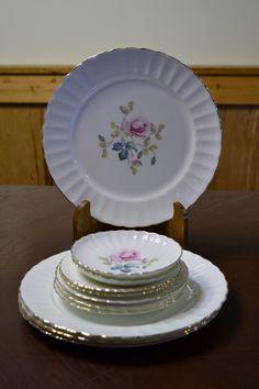 Vintage Radfords Bone China Plate Set of Eleven Pcs Fenton White Pink Flowers England PanchosPorch