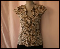 Anthropologie Blouse Size 4 By Vanessa Virginia Button Down Animal Print Career
