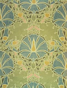 The Saladin wallpaper, by C. F. A. Voysey (1857-1941) and manufactured by Essex & Co. Colour print from wood blocks. England, c.1897.