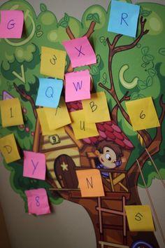 A letter scavenger hunt using sticky notes