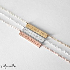 Roman Numeral Date Necklace Bar Necklace Wedding Date by Amoorella