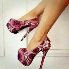 Love this Ankara print heels