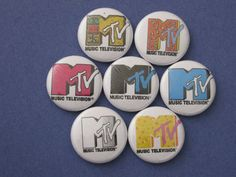 "set of 7 MTV Buttons 1"" pins buttons badges logo vintage retro 80s 90s"