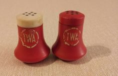 Vintage TWA Airlines salt and pepper shakers.