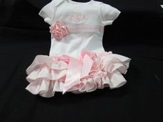 Custom Boutique Baby  Girl Sassy Ruffled Diaper Cover and Monogrammed Onesie  Christening Baptism Communion Ruffled Diaper cover. $45.00, via Etsy.
