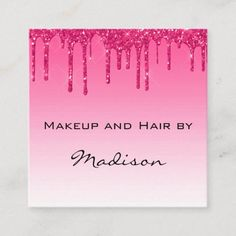 Glam Hot Pink Dripping Glitter Drips Makeup Artist Square Business Card Ad- Such and eye catching design! Spa Design, Salon Design, Salon Promotions, Hot Pink Nails, Business Hairstyles, Nail Technician, Square, Beauty Industry, Marketing Materials