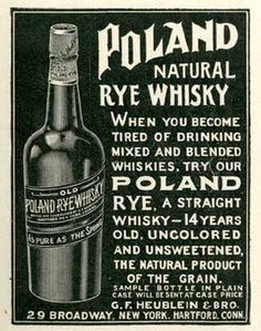 1903 Ad for Poland Natural Rye Whisky