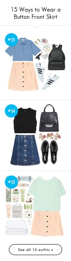 """15 Ways to Wear a Button Front Skirt"" by polyvore-editorial on Polyvore"