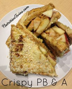 Crispy PB & A | Sweet, crunchy, satisfying & healthy unique twist that will tide you until lunch | Protein & Fiber packed | For MORE RECIPES, Fitness & Nutrition Tips please SIGN UP for our FREE NEWSLETTER www.NutritionTwins.com