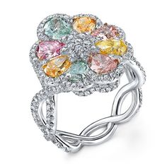 The Vibrant Bloom - 8 GIA Certified natural fancy color diamonds accented with diamond melee set in platinum l Rahaminov Diamonds