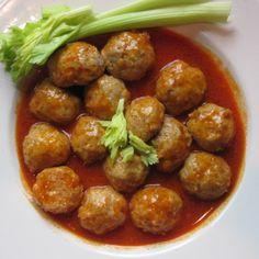 Buffalo Chicken Meatballs Recipe from Grandmothers Kitchen. Sausage Meatballs, Buffalo Chicken Meatballs, Appetizer Recipes, Dinner Recipes, Appetizers, Chicken Balls, Grandmothers Kitchen, Cooking Recipes, Healthy Recipes