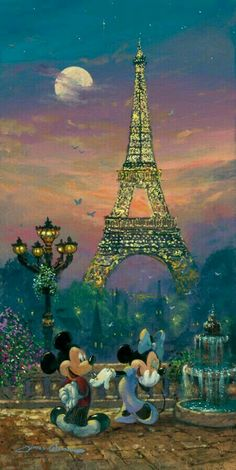 Evening in Paris Disney Studios giclee on canvas with slight hand embellishments Animation Art giclee on canvas with slight hand embellishments of Mickey Mouse From Disney Studios Retro Disney, Disney Love, Disney Magic, Disney Mickey, Disney Pixar, Disney Animation, Benfica Wallpaper, Disney Fine Art, Pinturas Disney