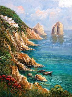 Italian painting reef seascape Capri Mediterranean Sea by Modiarte