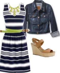 Love the navy stripe dress. (I like Navy, I like stripes). Love it paired with jean jacket (I own one!) Also like that it has thicker straps to hide bra straps. (SB)