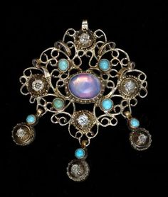 Silver-gilt pendant with turquoise and rock crystal c. 1850 France