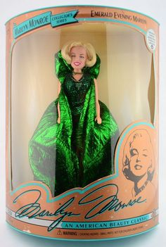 """Marilyn Monroe Collector's series: """"Emerald Evening Marilyn"""", issuel #1 from the 'Marilyn Monroe: An American Beauty Classic' series by DSI, 1993."""