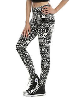 """<div>We took a traditional holiday print and turned it on its head! These leggings from Blackheart have an allover fair isle print that features skull and crossbones and crosses. What did you really expect from us?</div><div><ul><li style=""""list-style-position: inside !important; list-style-type: disc !important"""">95% polyester; 5% spandex</li><li style=""""list-style-position: inside !important; list-style-type: disc !important"""">Wash cold; dry low</li><li style=""""list-style-position: inside…"""