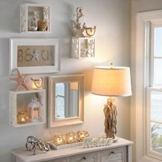 Coastal Shell & Starfish Wall Cube Shelves - Coastal Decor Ideas and Interior Design Inspiration Images Beach Cottage Style, Beach House Decor, Home Decor, Cottage Chic, Beach Apartment Decor, Beach Room Decor, Beach Condo, Beach Theme Rooms, Beach Themed Living Room