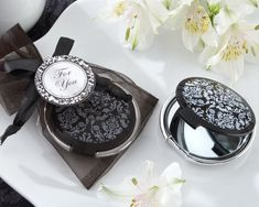 """Reflections"" Elegant Black-and-White Mirror Compact Sale Price: $2.04 (15% off)"