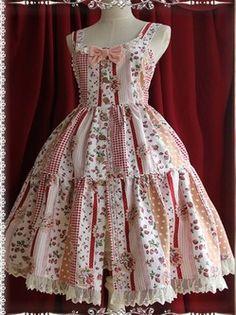 Rural pink strawberry sweet spell printing Lolita Dress