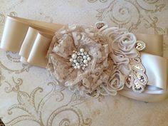 Champagne Bridal Belt Champagne Bridal Sash by TheRaggedDiamond, $32.00