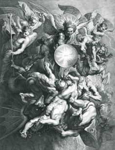 Saint Michael Fighting the Rebel Angels (d.1621 - Etching) - by Lucas Vorsterman I, after Peter Paul Rubens