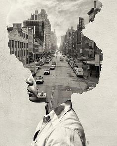 36 Trendy Ideas For Landscape Collage Photography Double Exposure Collage Kunst, Art Du Collage, Collage Portrait, City Collage, Collage Illustration, Abstract Portrait, Collage Artists, Portrait Paintings, Creative Illustration