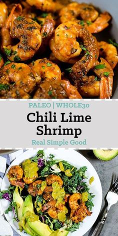 Busy weeknights, long days and little energy to throw together a healthy dinner once you get home - sound about right? Well, this Paleo + Whole30 chili lime shrimp is a quick and easy dinner, made in just 20 minutes! It's also versatile and can be paired in many ways for a complete healthy meal. | realsimplegood.com #paleo #whole30 #easydinner #healthydinner via @realsimplegood