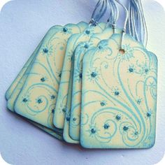 Blue sparkle and swirls #tags #scrapbooking