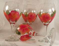 Hand Painted Wine Glasses  Island Mango 4 by EverMyHart on Etsy, $49.95