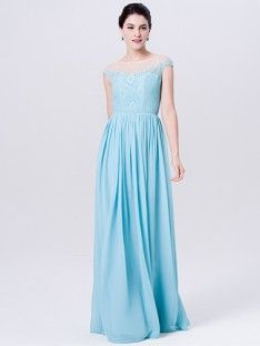 Lace Chiffon Dress With Tulle Neckline