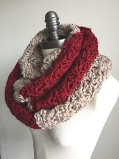 Red & Tan Chunky Scarf Crochet Infinity Scarf by RavensMoonDesigns