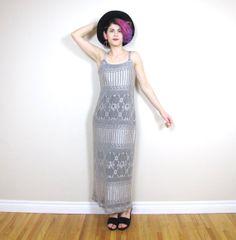 90s Boho Silver Crochet Lace Maxi Dress Evening by honeymoonmuse, $60.00