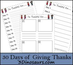 30 Days of Giving Thanks with Free Printable - 3Dinosaurs.com