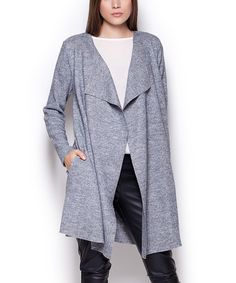 Loving this Gray Shawl-Collar Wool-Blend Open Duster on #zulily! #zulilyfinds