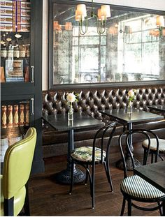 [The Benson-designed wine bar and café at specialty retailer Reid's Fine Foods in Charlotte, North Carolina. Photo by Chris Edwards . Cafe Restaurant, Restaurant Design, Restaurant Layout, Booth Seating, Banquette Seating, Bar Seating, Burger Bar, Cafe Bistro, Cafe Bar
