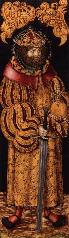 Lucas Cranach the Elder (Lucas Cranach der Ältere, 4 October 1472 – 16 October St Stephen of Hungary Oil and tempera on limewood, 101 x 30 cm Germanisches Nationalmuseum, Nuremberg Hans Holbein, Renaissance Paintings, Renaissance Art, Hans Baldung Grien, Jean Fouquet, Lucas Cranach, Saint Stephen, Landsknecht, Web Gallery