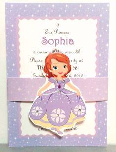 Princess Invitations with Rhinestones (12) - Sofia the First