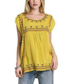 Look what I found on #zulily! Lime Embroidered Cap-Sleeve Top #zulilyfinds
