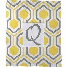 Thumbprintz Honeycomb Monogram Fleece Throw, Yellow