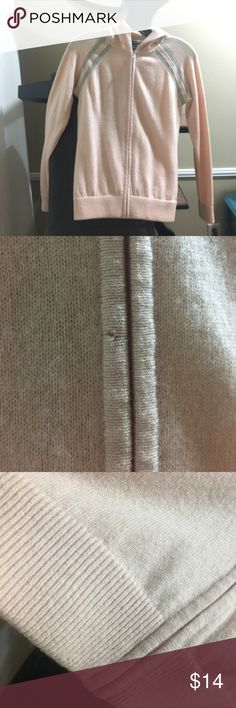 wool cashmere zipper hoodie Heather Baby pink with sporty double grey stripes on the shoulders. Slim fit. Very minor pilling. The only small flaw is shown in the second picture. Selling because too warm for the weather in Los Angeles. Excellent layering piece. Runs small. Banana Republic Jackets & Coats