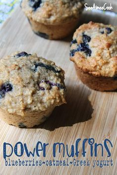 Aimee Cook: Power Muffins (blueberries, oatmeal, Greek yogurt) substitute out the butter and sugar.See Aimee Cook: Power Muffins (blueberries, oatmeal, Greek yogurt) substitute out the butter and sugar. Healthy Treats, Healthy Baking, Healthy Recipes, Healthy Protein, Yogurt Recipes, Healthy Drinks, Healthy Blueberry Recipes, Protein Power, Breakfast Recipes