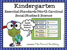 "These colorful frog theme posters are perfect for displaying the Essential Standards for Social Studies and Science in your kindergarten classroom. Each standard is written in language your students will understand with an ""I can..."" statement. Standard headers are also included. $5.00"